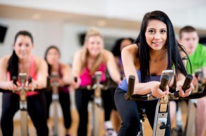 A group cycling class is a great way to stay in shape.