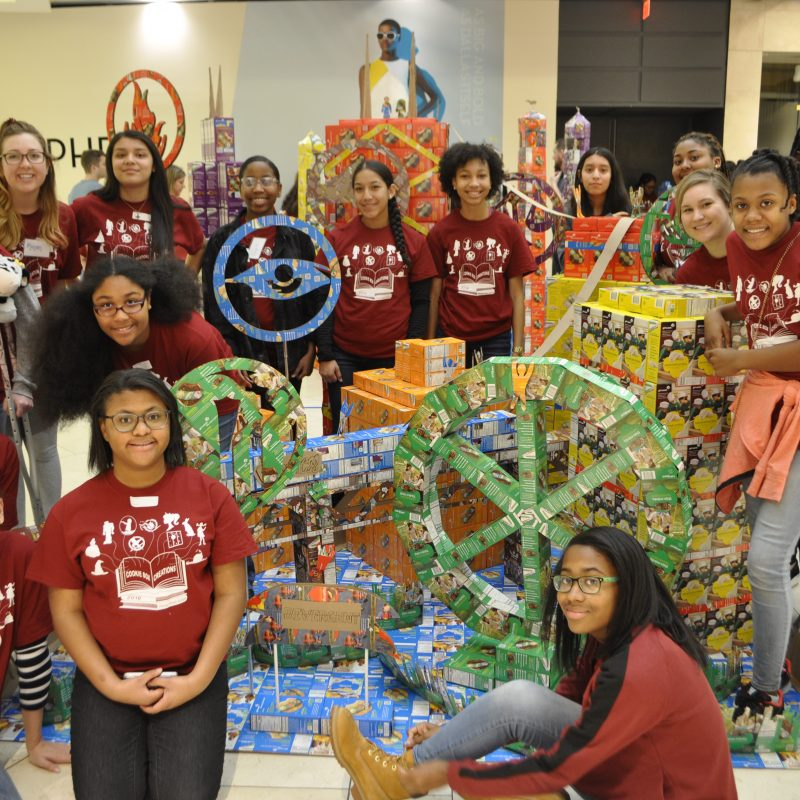 Girl Scouts create cookie structures at Galleria Dallas.
